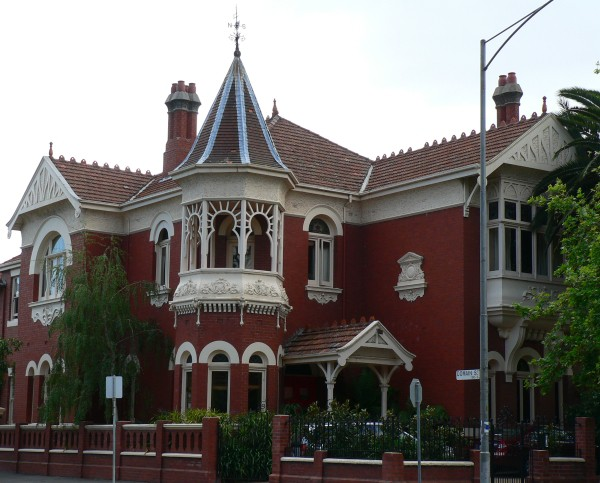 Federation Queen Anne style mansion in Domain Street South Yarra, Victoria, Australia.